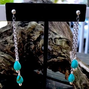 Sterling Silver Turquoise Long Chain Earrings